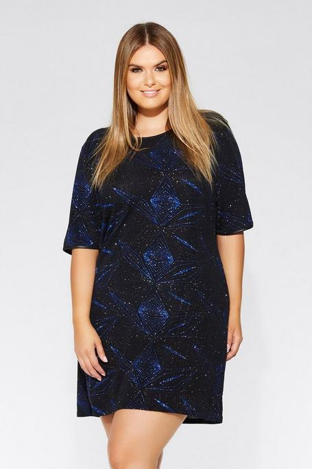 Plus Size Royal Blue And Black Geometric Glitter Dress