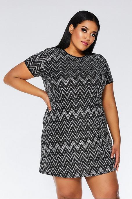 Plus Size Black and Silver Zig Zag Tunic Dress