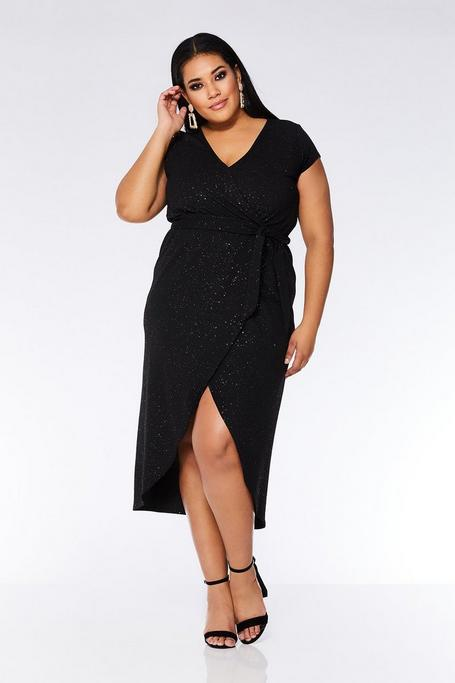 Plus Size Black Glitter Wrap Dress