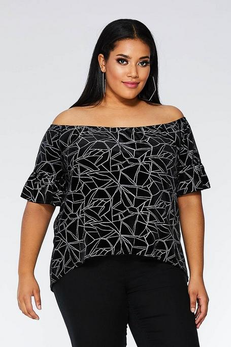 Plus Size Black And Silver Velvet Geometric Off The Shoulder Top