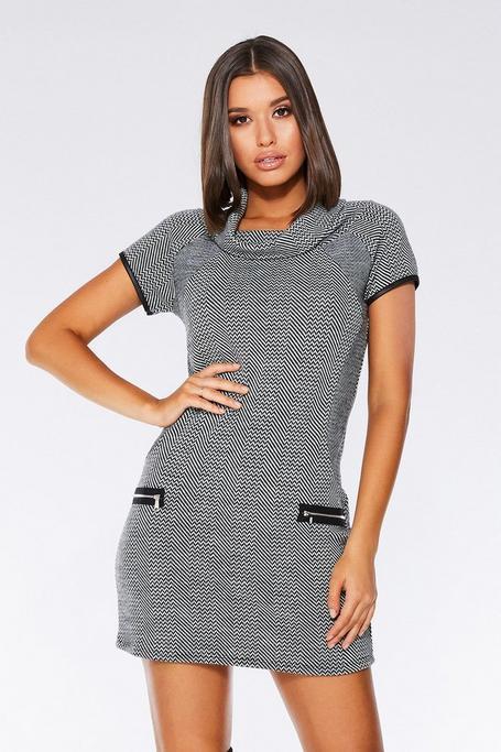 Grey And Black Knit Zip Tunic Dress