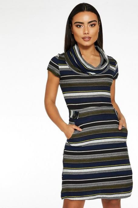 Navy and Mustard Knit Cowl Neck Dress