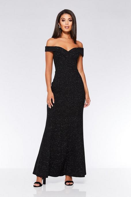 Black Glitter Off The Shoulder Maxi Dress