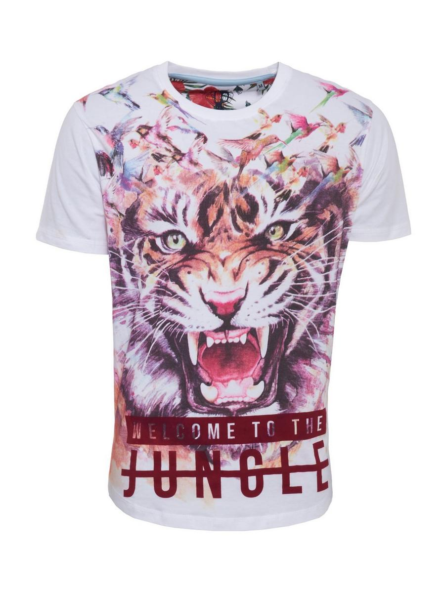 WHITE PRINTED TIGER SLOGAN T-SHIRT