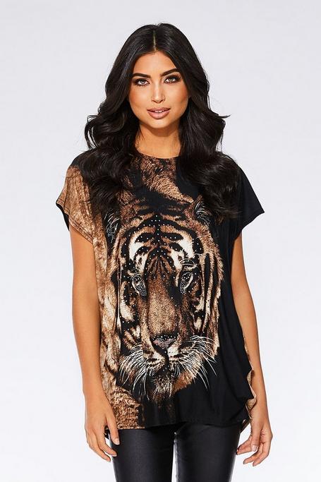 Black and Brown Tiger Print Top