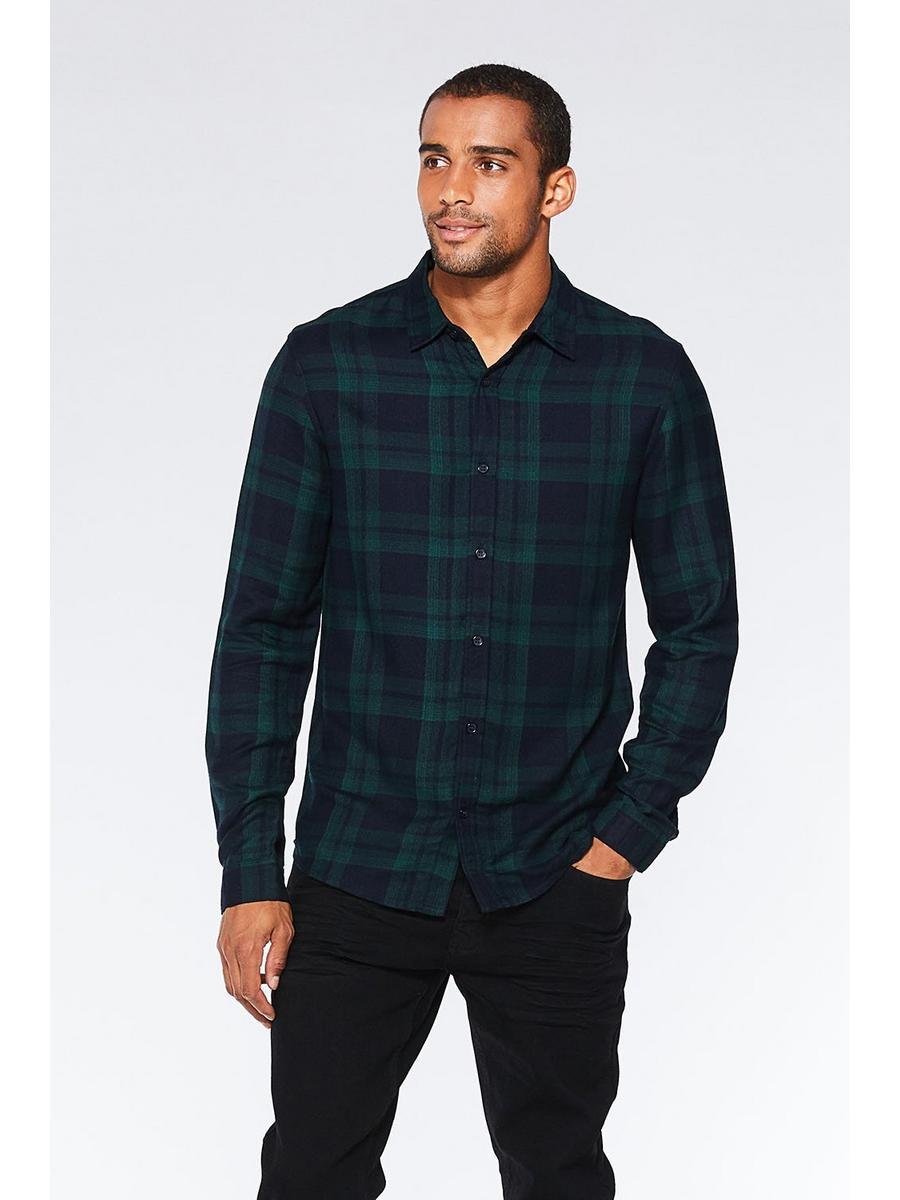 Navy And Green Long Sleeve Check Shirt