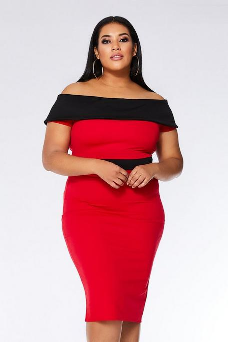 Curve Red and Black Bardot Frill Midi Dress