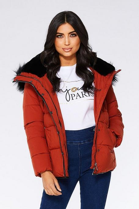 Rust and Black Padded Faux Fur Trim Jacket