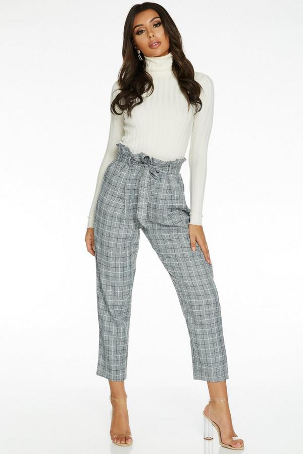Grey Check Paper Bag Trousers