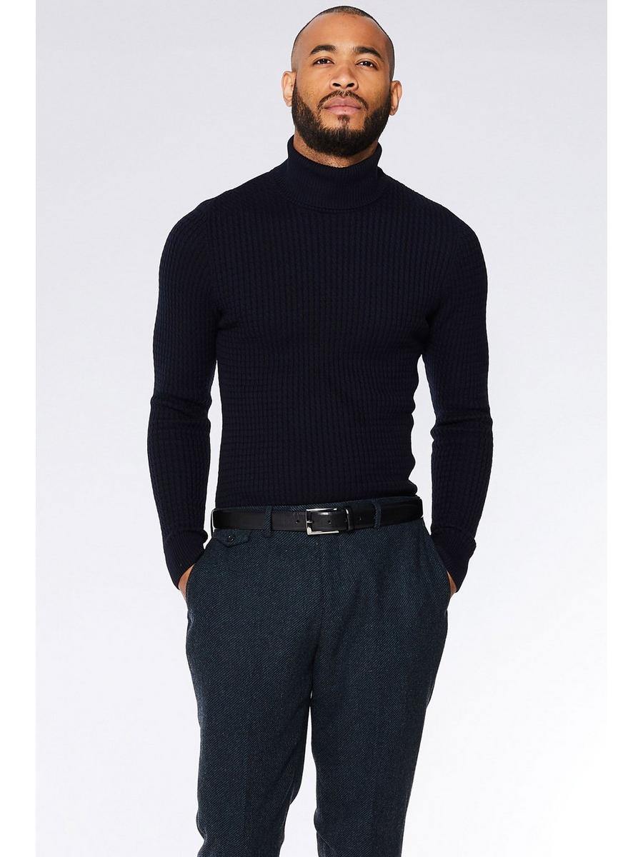NAVY CABLE KNIT ROLL NECK JUMPER