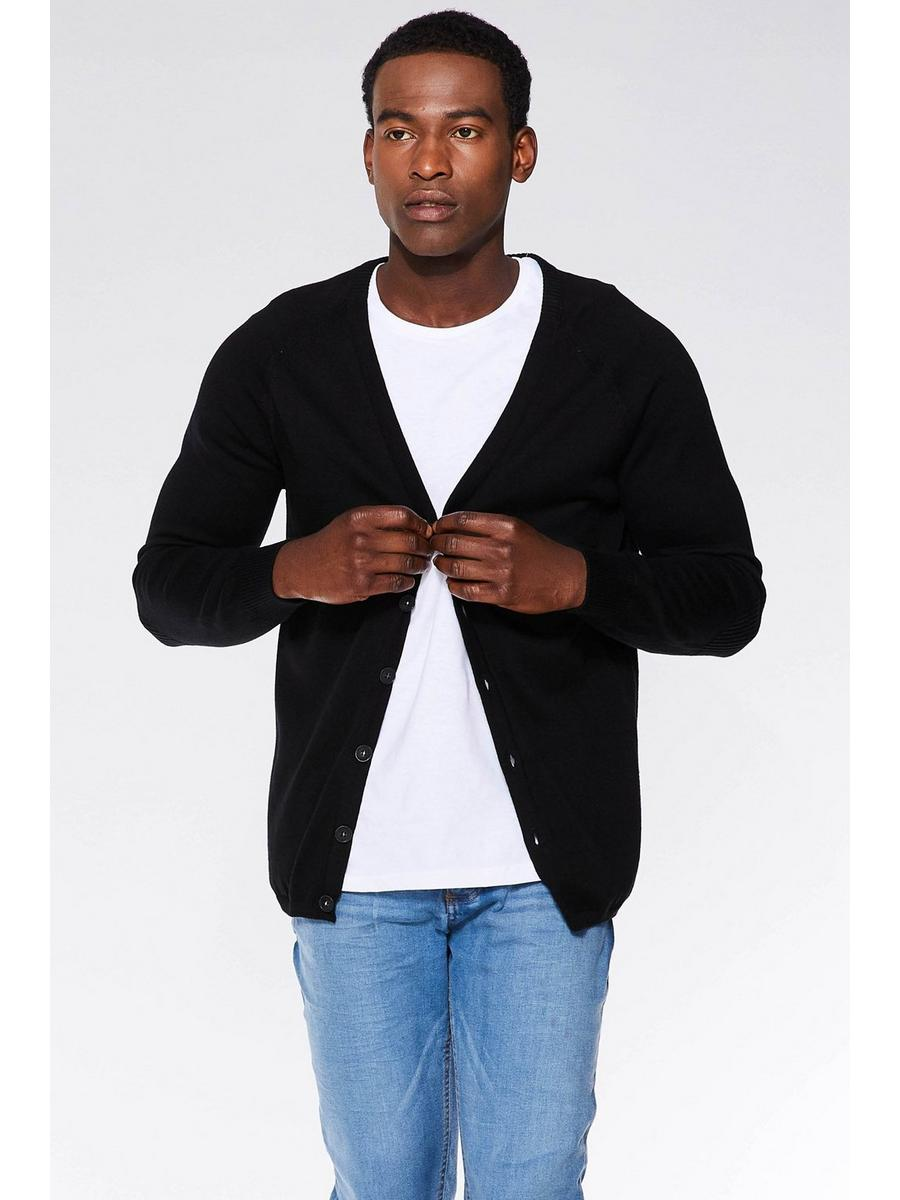 BLACK RIBBED ELBOW AND SIDE PANEL CARDIGAN