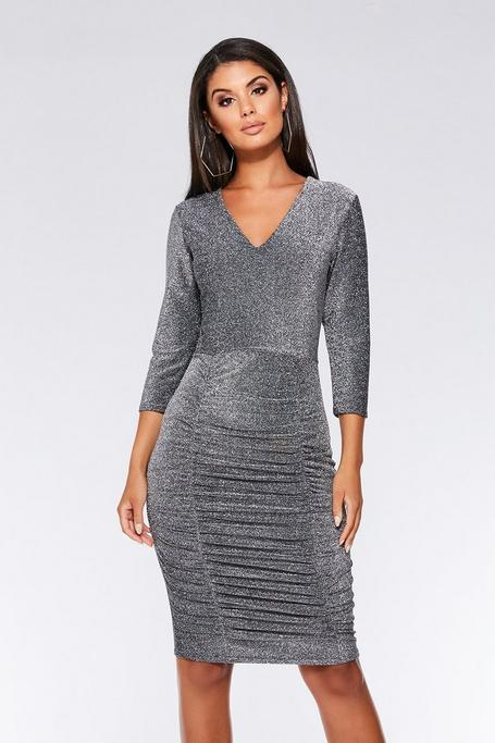 Silver 3/4 Sleeves Ruched Midi Dress