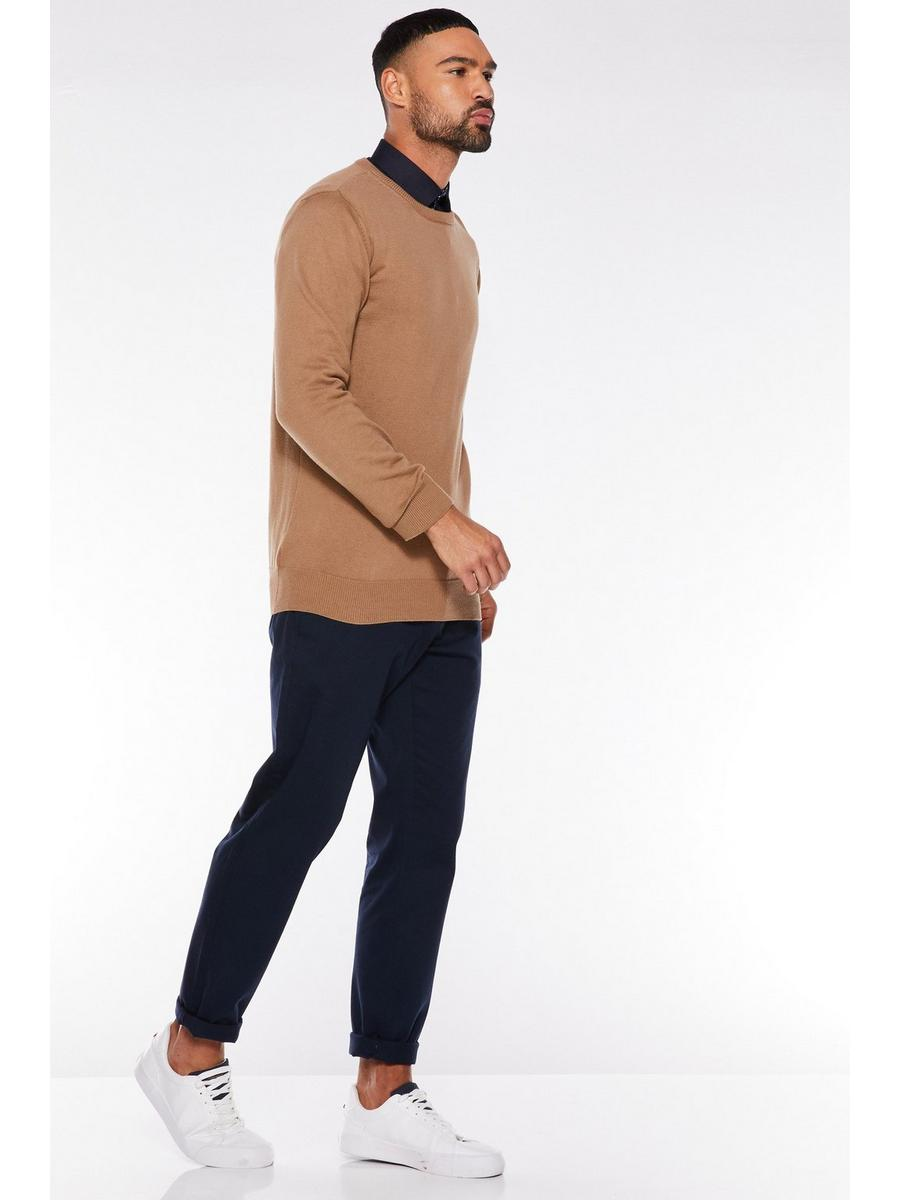 CAMEL CREW NECK KNITTED JUMPER