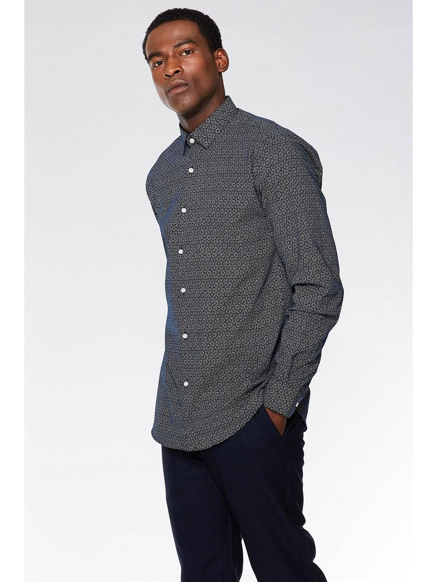 BLACK/WHITE DOTTED GEO PATTERN LONG SLEEVE SHIRT