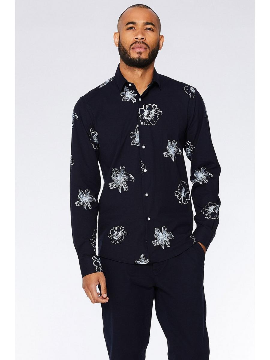 NAVY/WHITE FLORAL LONG SLEEVE SHIRT