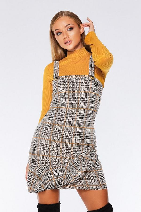 Black White And Mustard Button Detail Pinafore