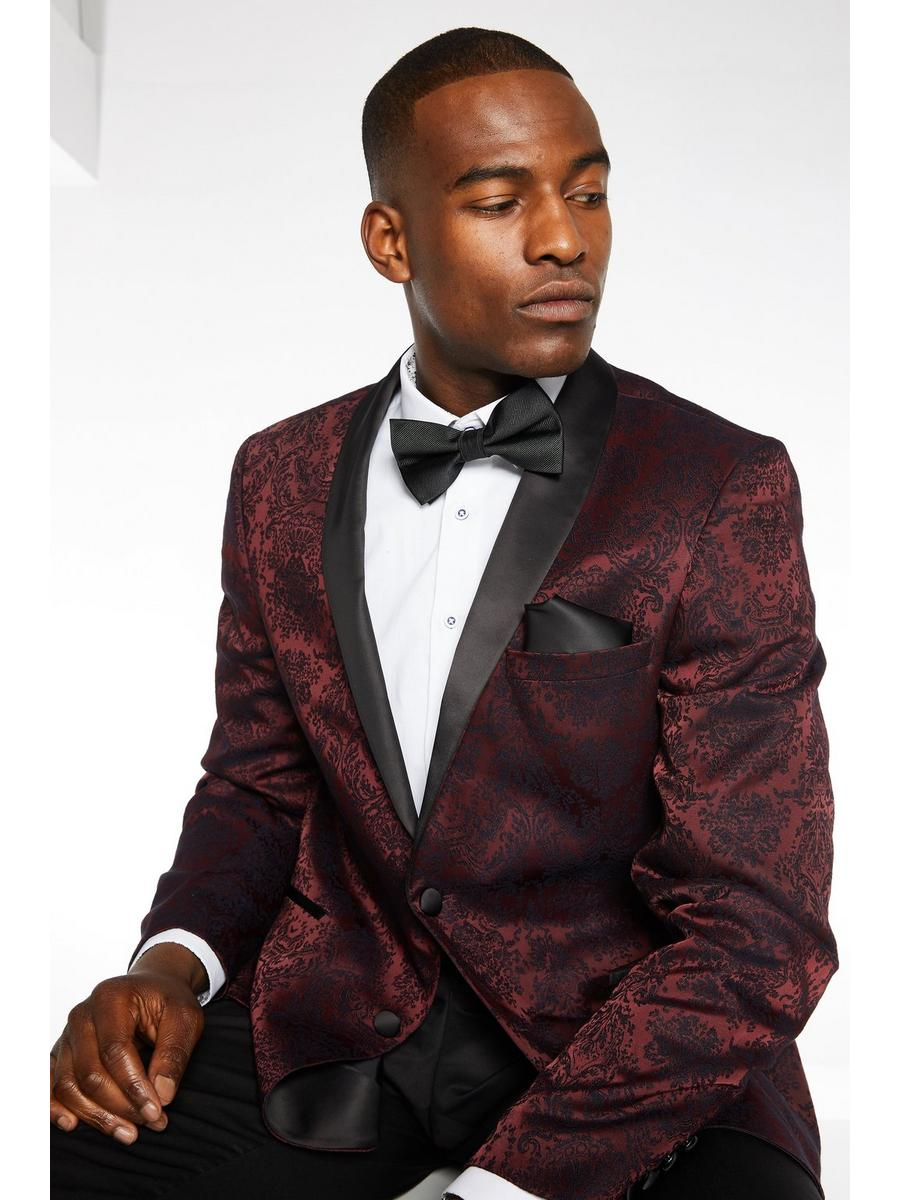 Party BLAZER WITH EMBROIDERY DETAIL in Burgundy