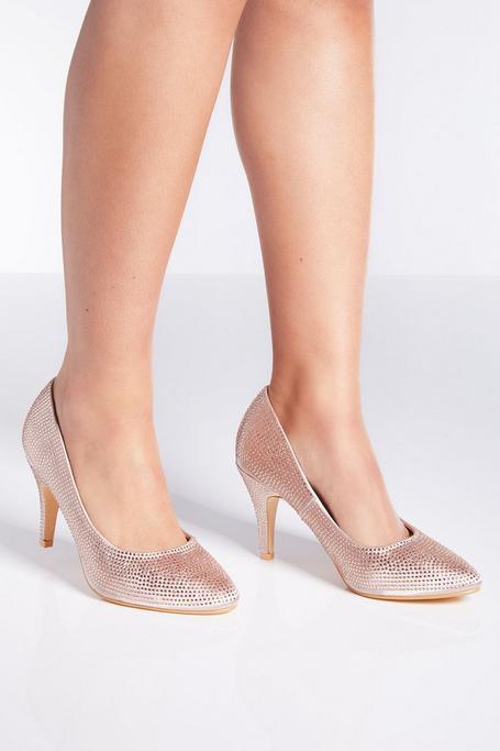 Blush Satin Diamante Court Heels