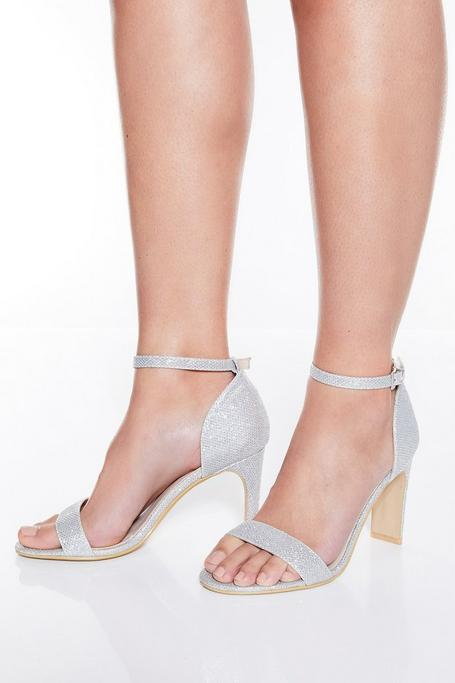 TOWIE Silver Shimmer Heeled Sandals