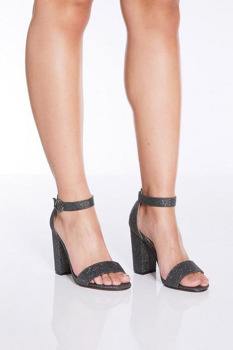 TOWIE Pewter Glitter Block Heel Sandals
