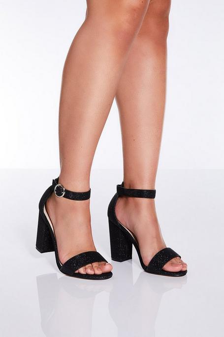 TOWIE Black Glitter Block Heel Sandals