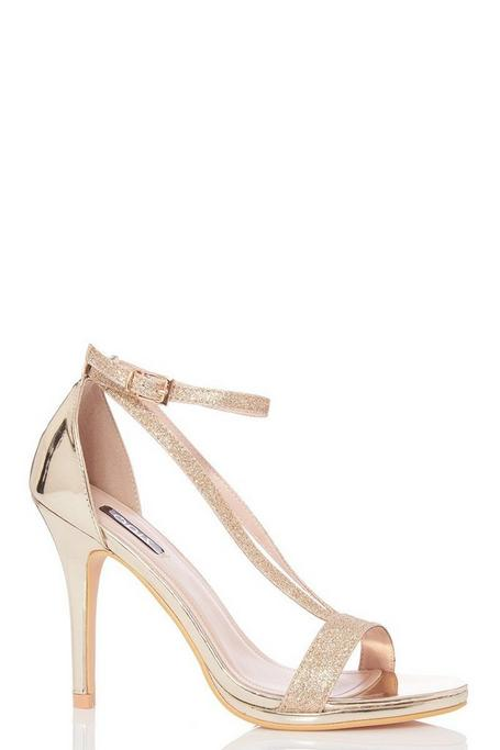 TOWIE Gold Glitter Strap Heel Sandals