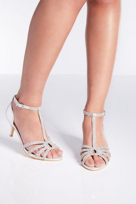 Silver Shimmer Twist Low Heel Sandals