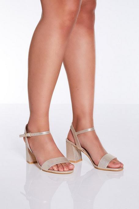 Gold Shimmer Flared Heel Sandals