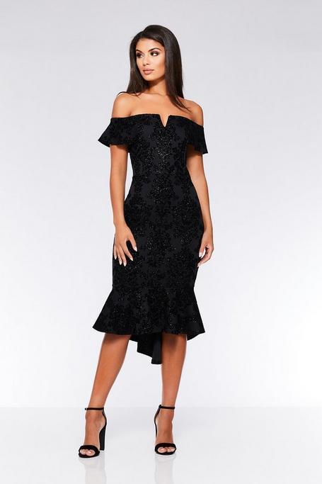 Black Glitter V Bar Bardot Frill Hem Dress