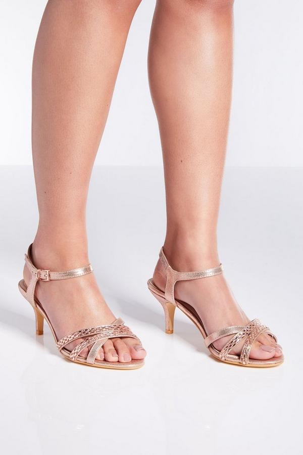 Sandalias de Corte Ancho Oro Rosa de Satén y Tacón Bajo