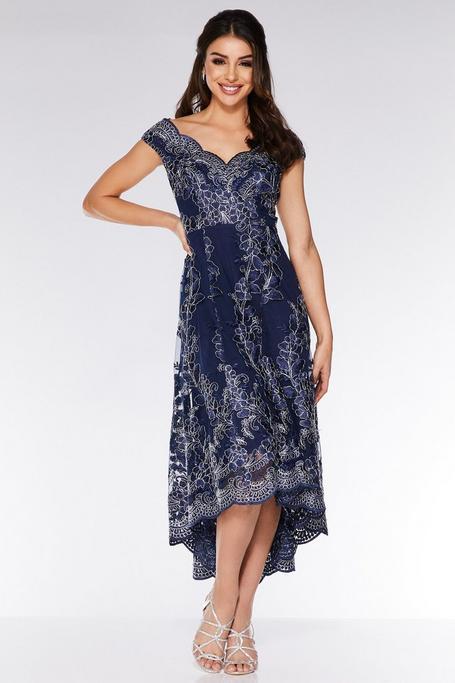 Navy Embroidered Bardot Dip Hem Dress