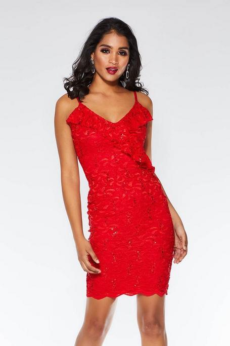 Red Sequin Lace Frill Midi Dress