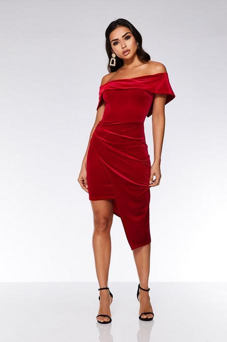 Red Velvet Wrap Asymmetrical Bodycon Dress