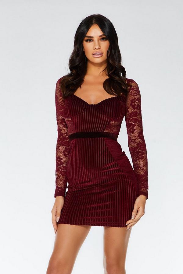 Berry Velvet Lace Bodycon Dress