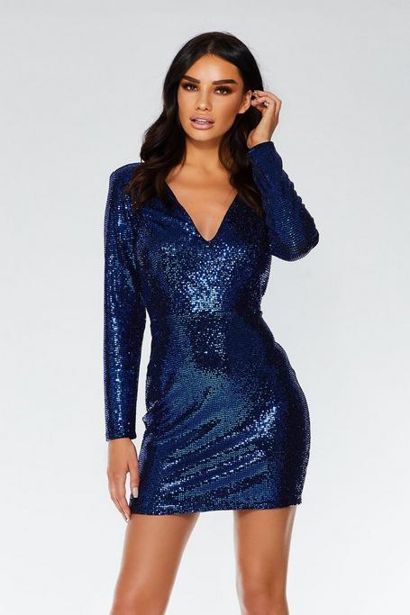 Vestido Ajustado Azul Klein con Lentejuelas