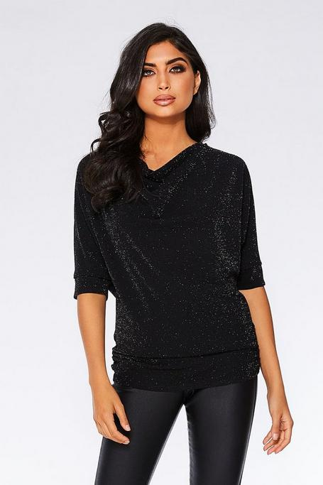 Black Glitter 3/4 Sleeve Batwing Top