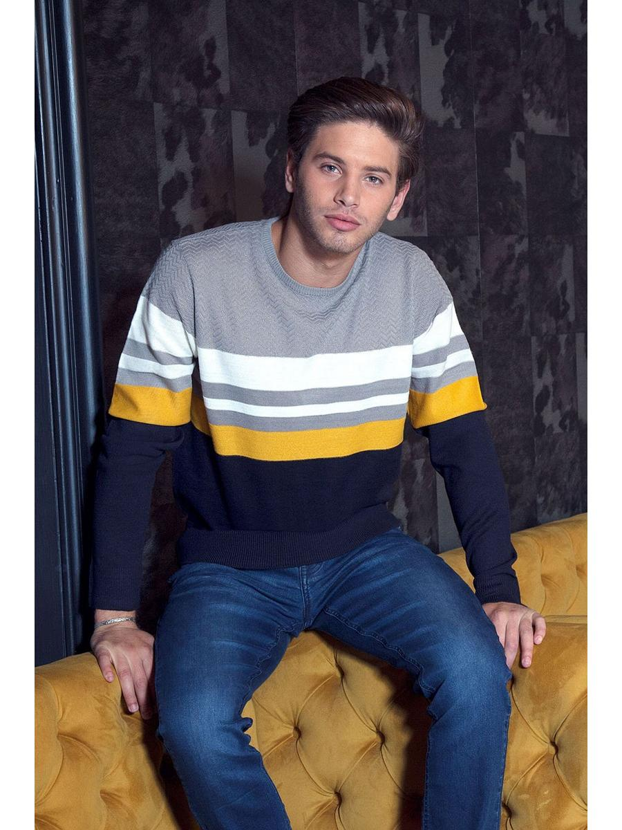 NAVY/GREY CREW NECK TWIN STRIPE JUMPER