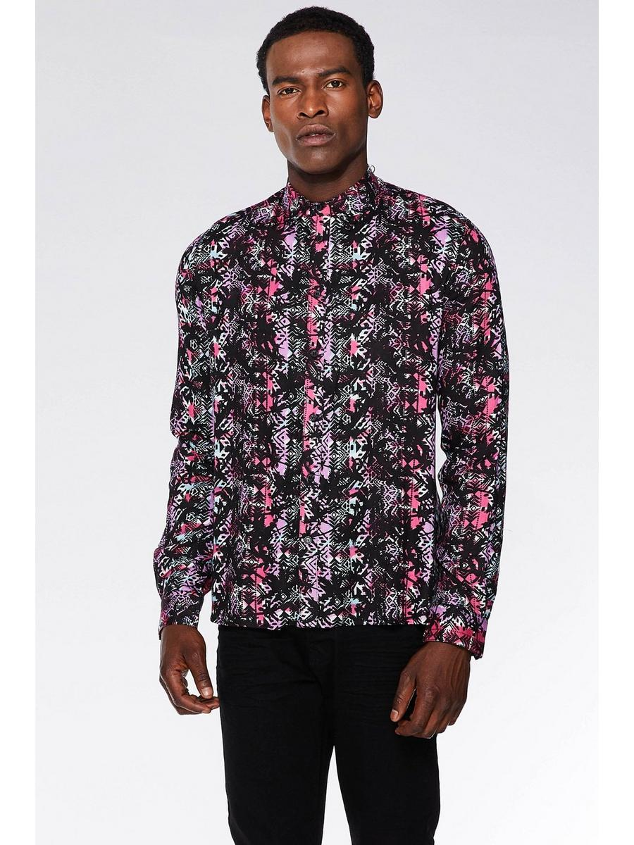 PINK/BLACK AZTEC VISCOSE  LONG SLEEVE SHIRT