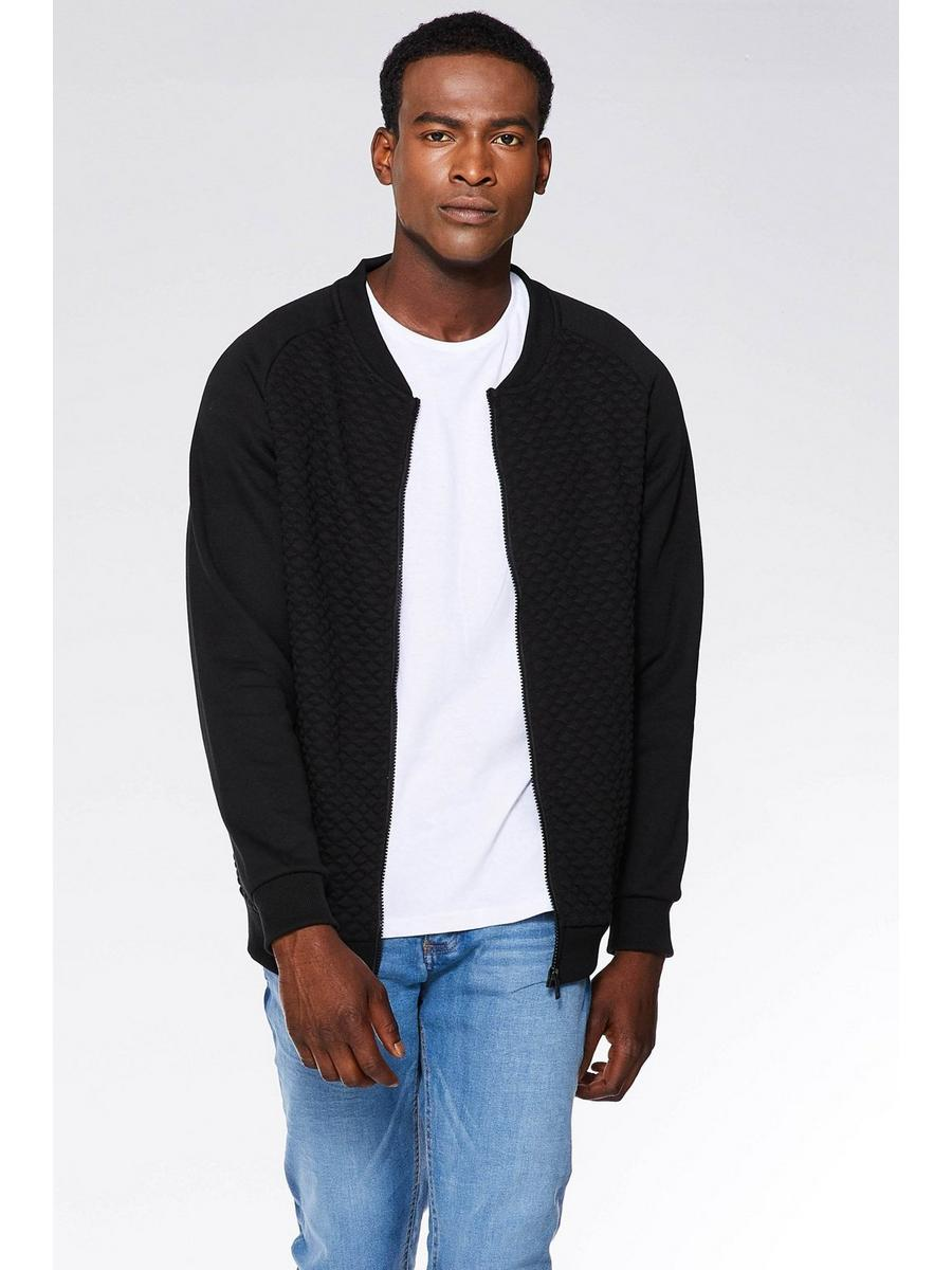 BLACK QUILTED ZIP THROUGH JERSEY