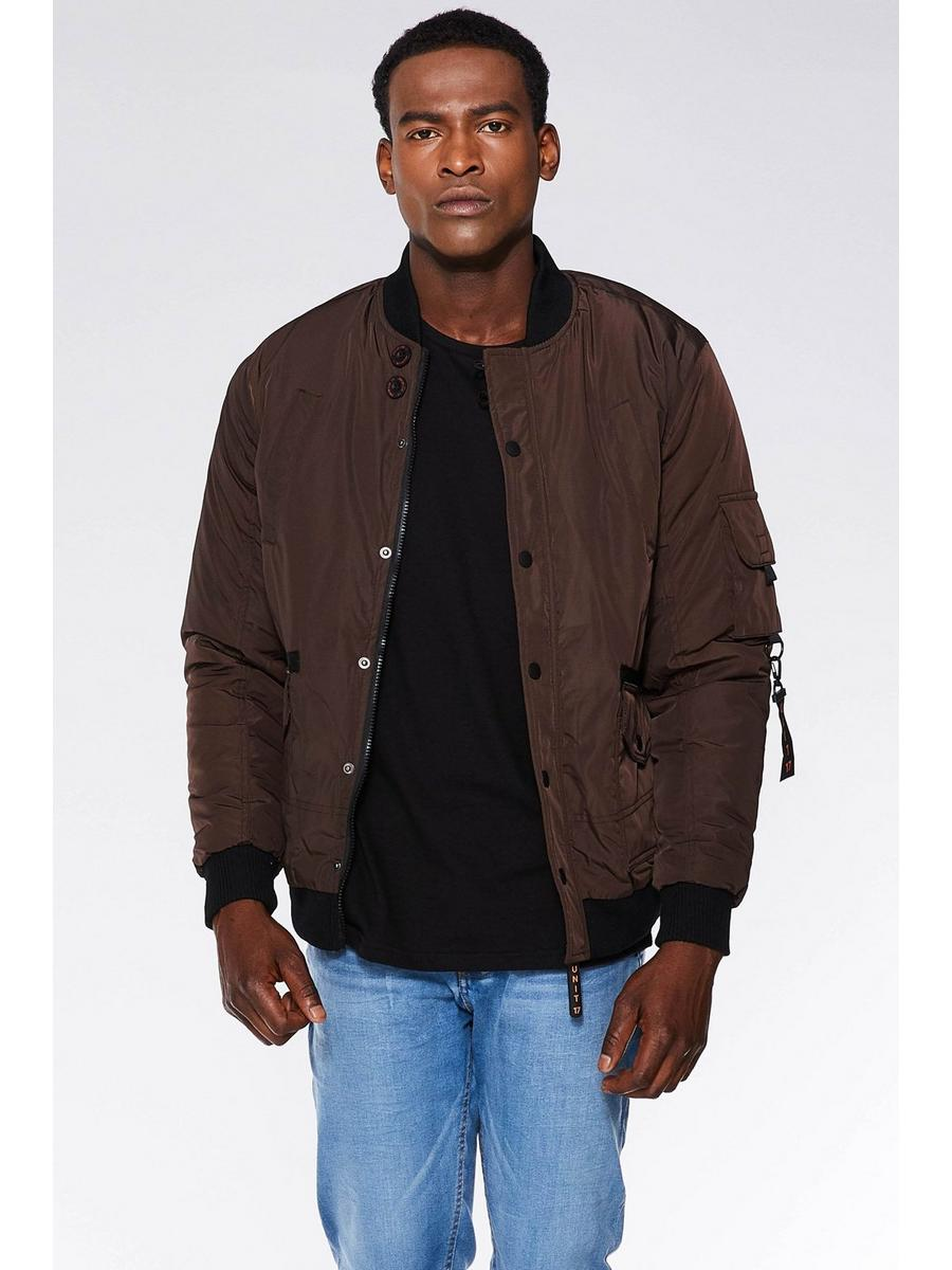 BROWN PADDED BOMBER JACKET