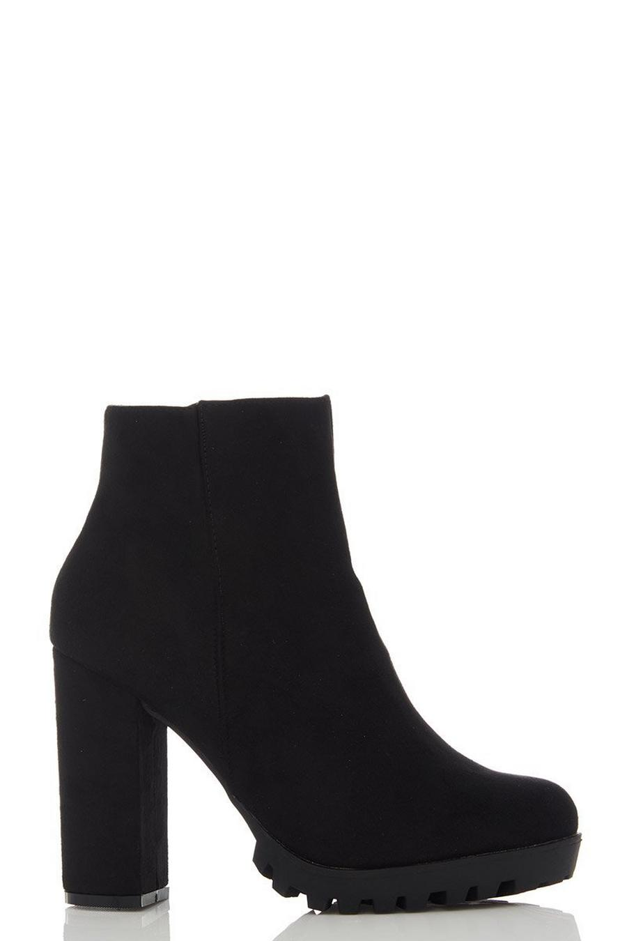 97e04d584f0 Black Faux Suede Chunky Heel Ankle Boots
