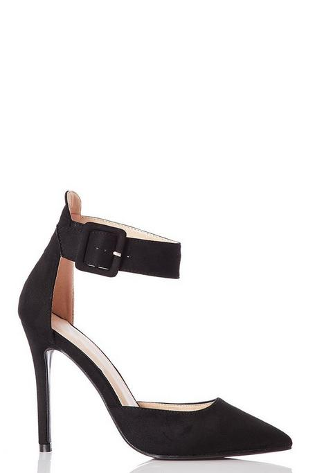 Black Faux Suede Pointed Toe Heels