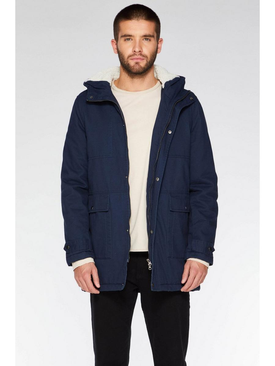 Navy Cotton Zip Parka Jacket