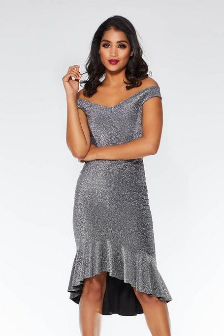Silver Glitter Off The Shoulder Dip Hem Dress