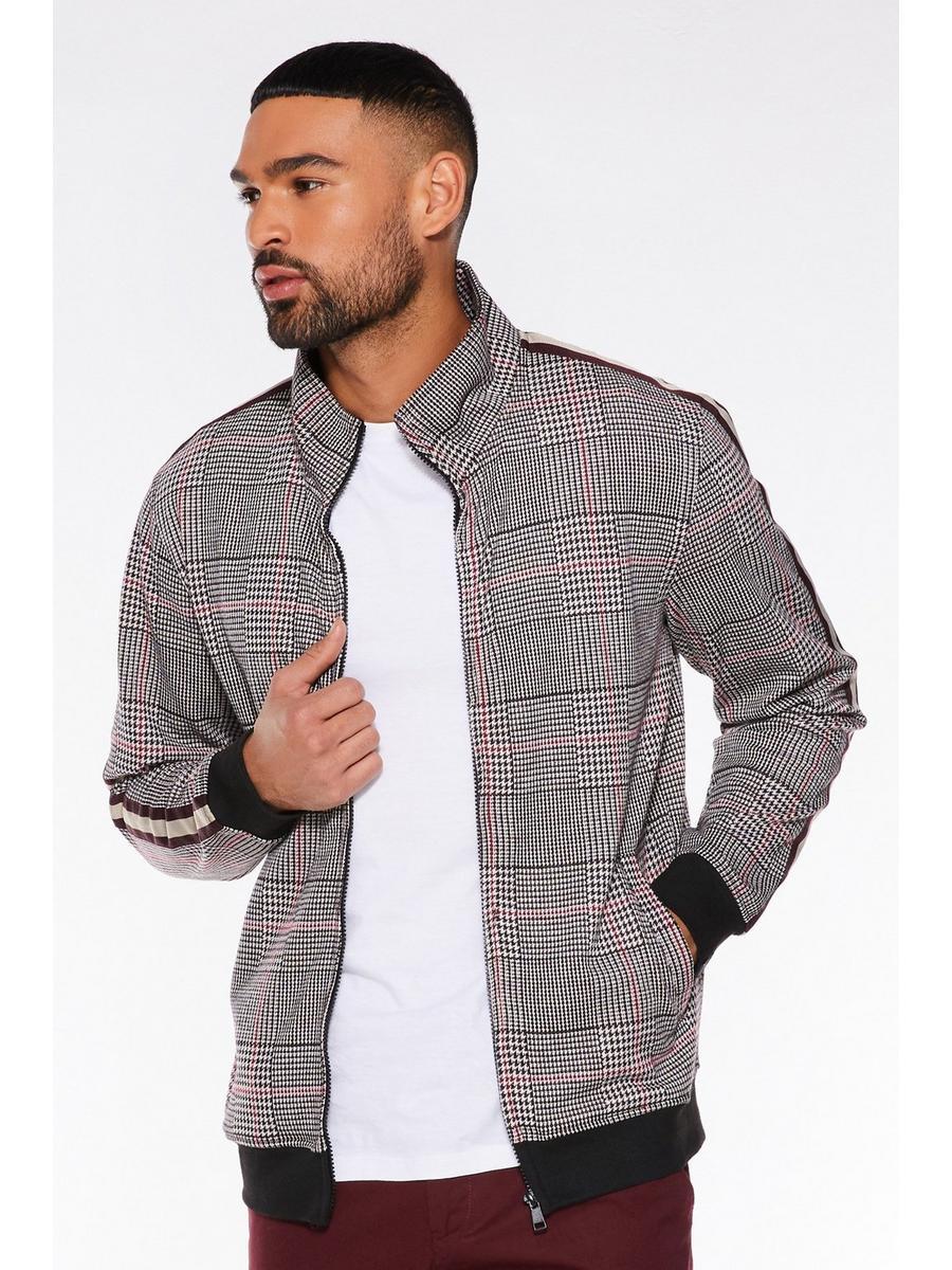 Grey Check Zip Through Bomber Jacket