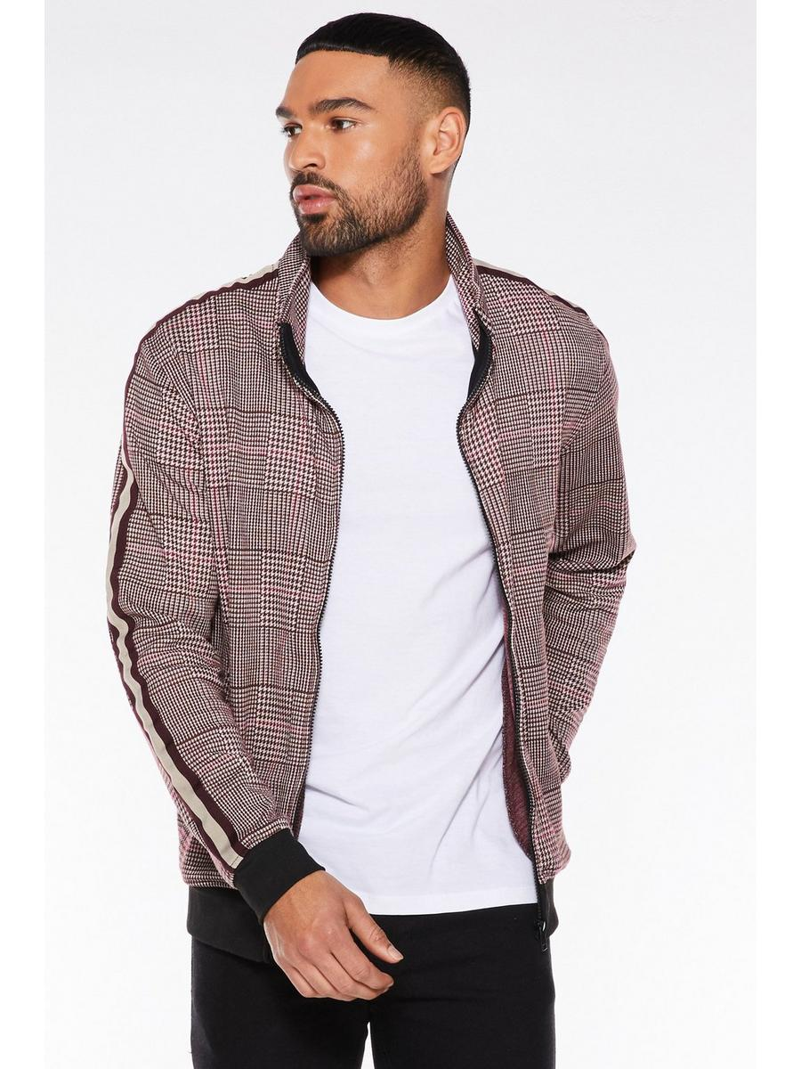 Brown Check Zip Through Bomber Jacket
