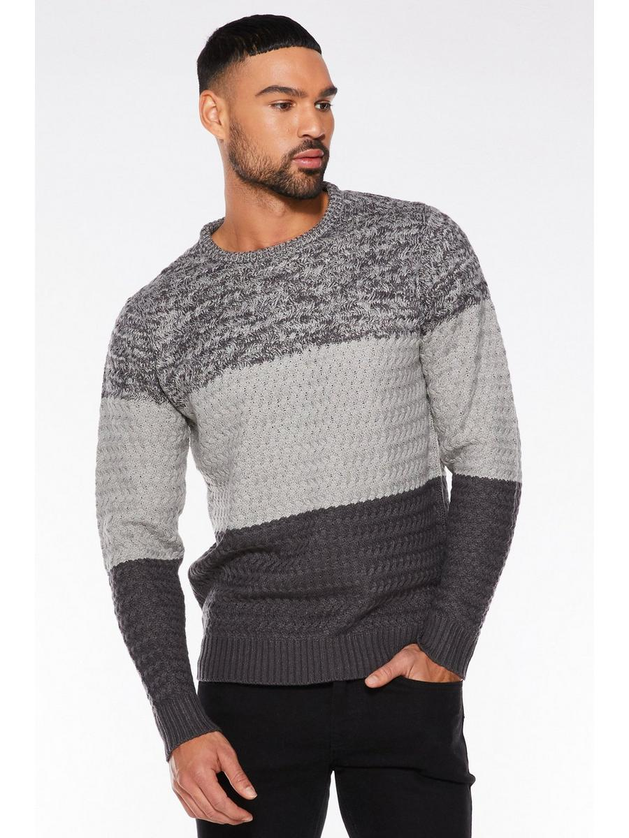 CHARCOAL CREW NECK  COLOUR BLOCK JUMPER