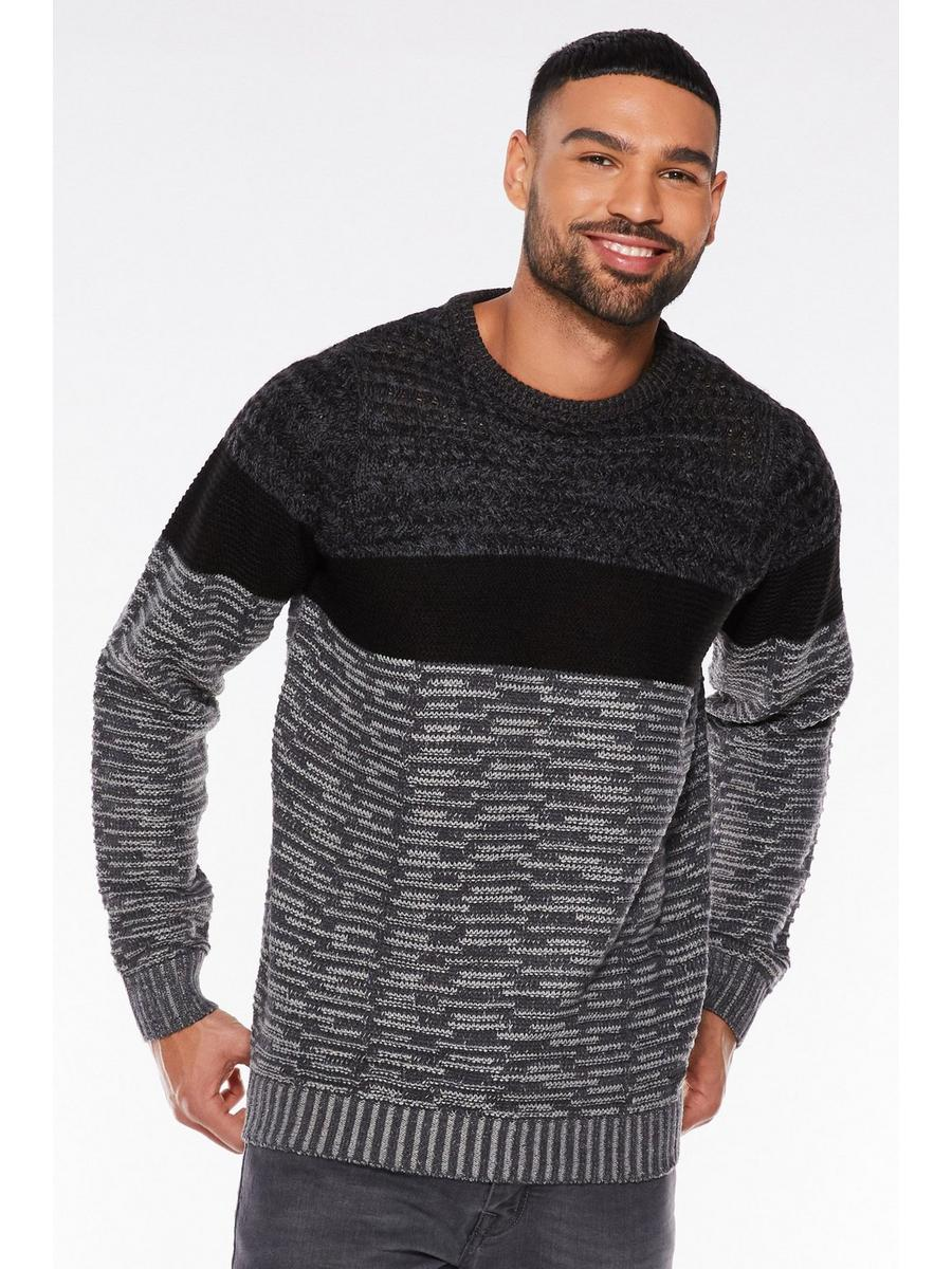 BLACK CREW NECK CONTRAST JUMPER