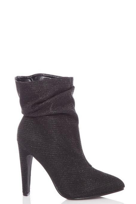 Black Glitter Ruched Ankle Boots