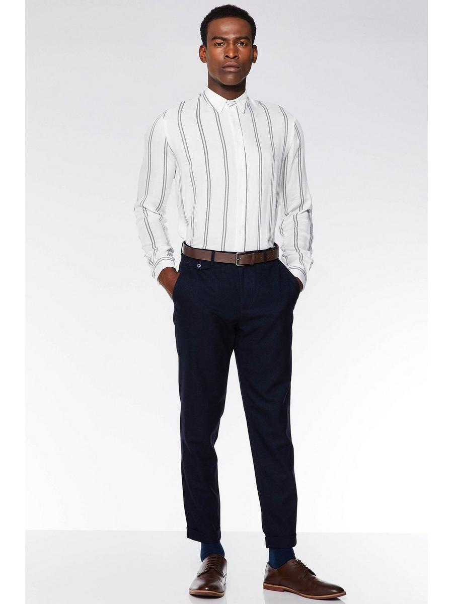 NAVY WOVEN TEXTURE TROUSERS